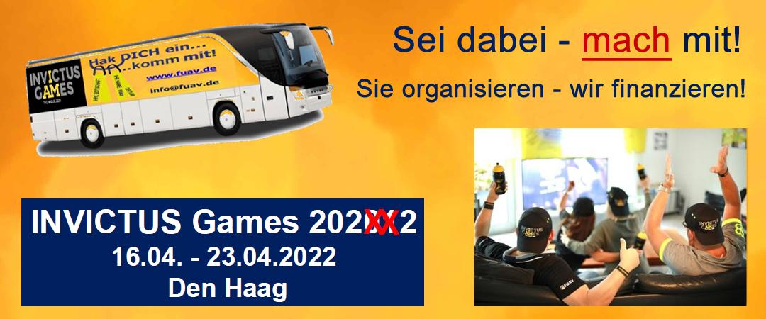 Zwei Aktionen – ein Ziel – Invictus Games 2022 – Den Haag. Hak DICH ein.. komm mit oder Sei dabei – mach mit.